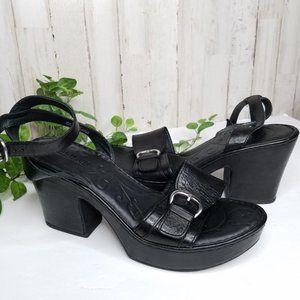 Born Astoria Platform Sandals Black Leather Sz 10